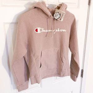 Champion | dusty pink fleece athletic hoodie (nwt)